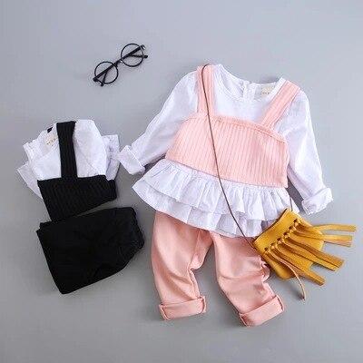 Fall New Baby Suit for Girls Children Korean Cotton Three Set Girls Sets