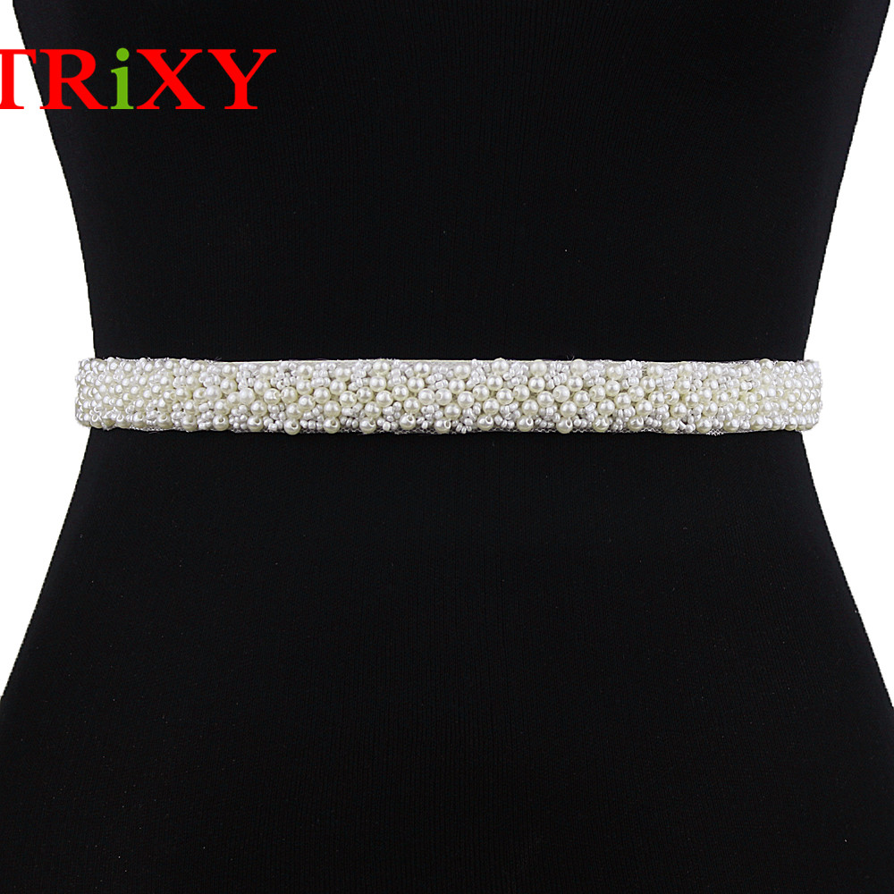 Pearls TRiXY S204 Pearls Wedding Belt Crystal Bridal Sash Elegant Pearls Beaded Bridal Belt Sash Wedding Dresses Accessories