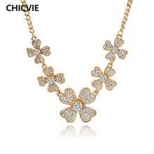 Chicvie под заказ кристалл золотой цветок массивное ожерелье