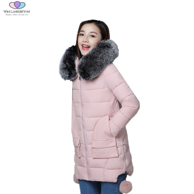 2017 Women Winter Coats Faux Fur Collar Hooded Slim Warm Down Cotton Jacket Womens Winter Jackets And Coats TNLNZHYN E174
