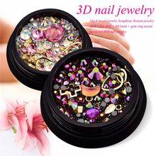 2 коробки 3d-украшения для ногтей красочные Смешанные Акриловая типса Алмазный плоский драгоценный камень ногтей горный хрусталь для домашнего маникюра художественное украшение(Pi