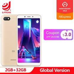Первоначально Глобальный Версия Xiaomi Redmi 6A 6 2 GB 32 GB смартфон 5,45 ''Full Экран A22 4 ядра 13MP Камера AI Face Unlock