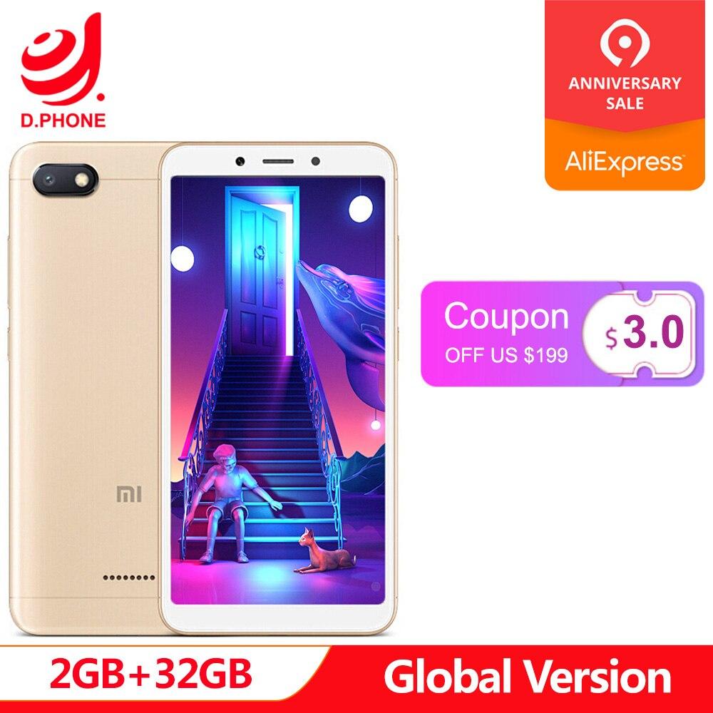 Original versión Global Xiaomi Redmi 6A 6 2 GB 32 GB teléfono inteligente 5,45 pantalla completa A22 Quad Core 13MP Cámara AI cara desbloquear