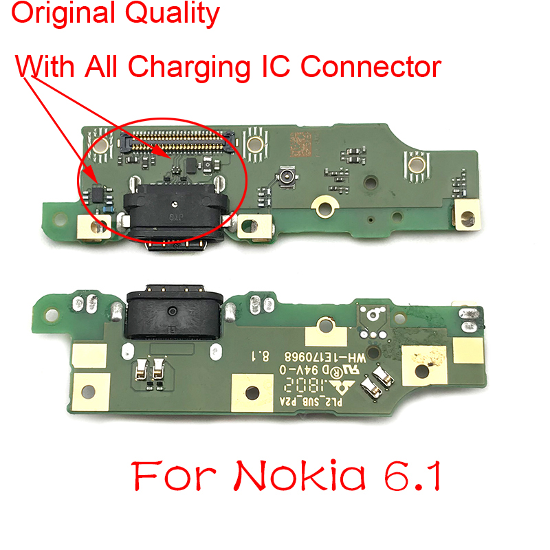New For Nokia 6.1 Type-C USB Charging Port Charger Dock Antenna Connector Mic Flex Cable Circuit Board For Nokia 6 2018