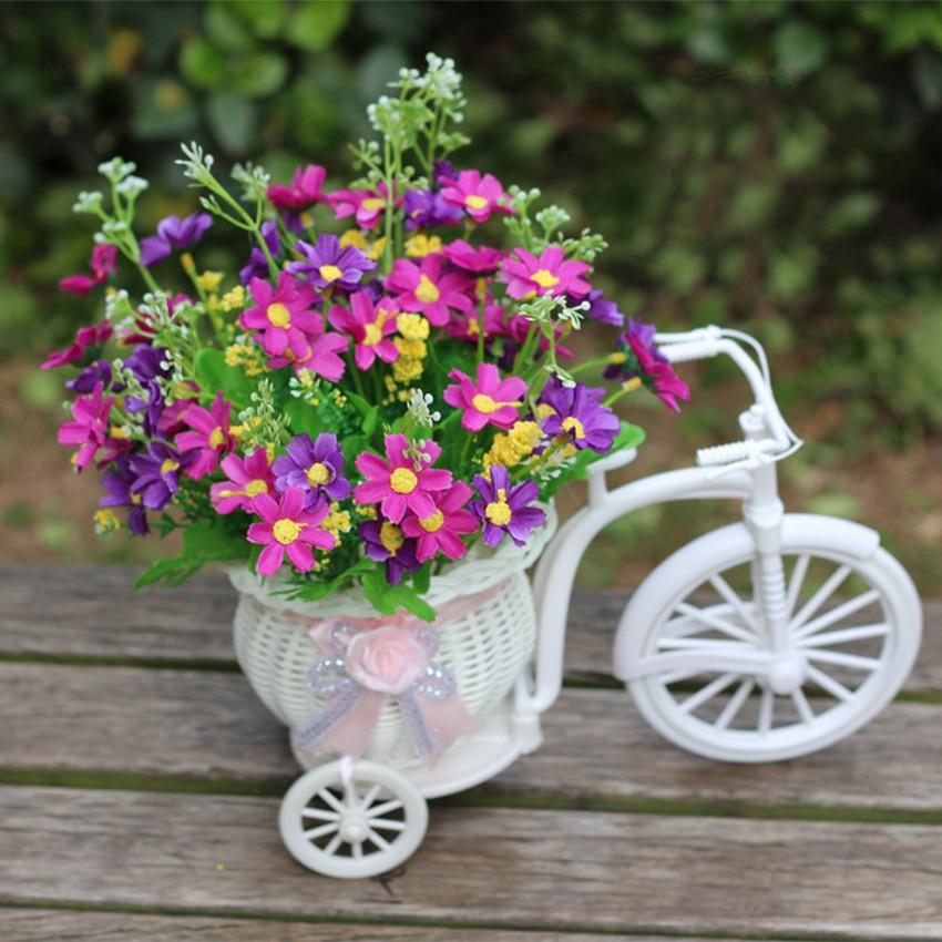 1 unidades flores artificiales en macetas decorativas con cestas