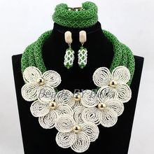 Luxury Nigerian Wedding Beads Green Crystal Handmade Bridal Flowers African Bridal Jewelry Sets Necklace Free Shipping ABL037