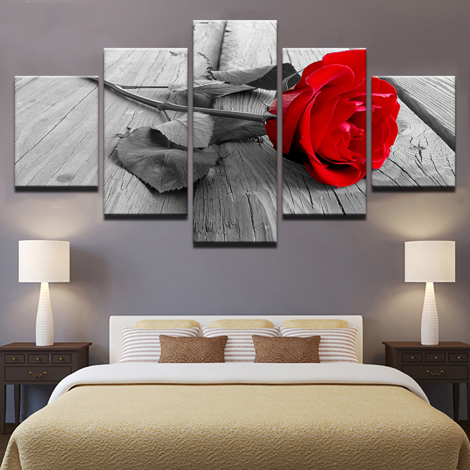 HD Home Decoration Canvas Pictures Living Room Modern 5 Panel Red Rose Flowers Printed Painting Wall Art Modular Poster Frame