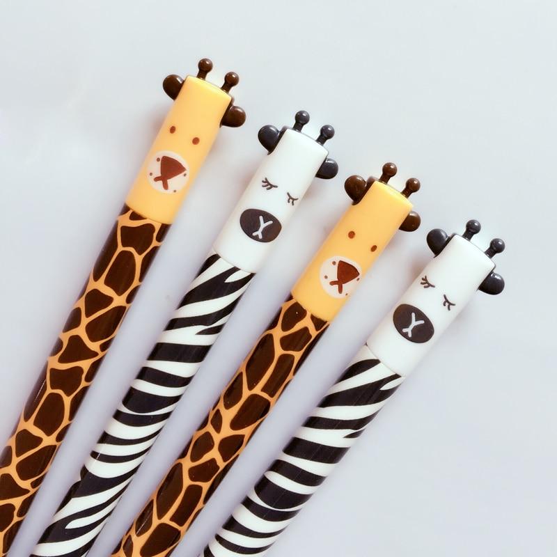 W42 4X Cute Kawaii Animal Ear Giraffe Zebra Gel Pen Writing Signing Pen School Office Supply Kids Student Stationery