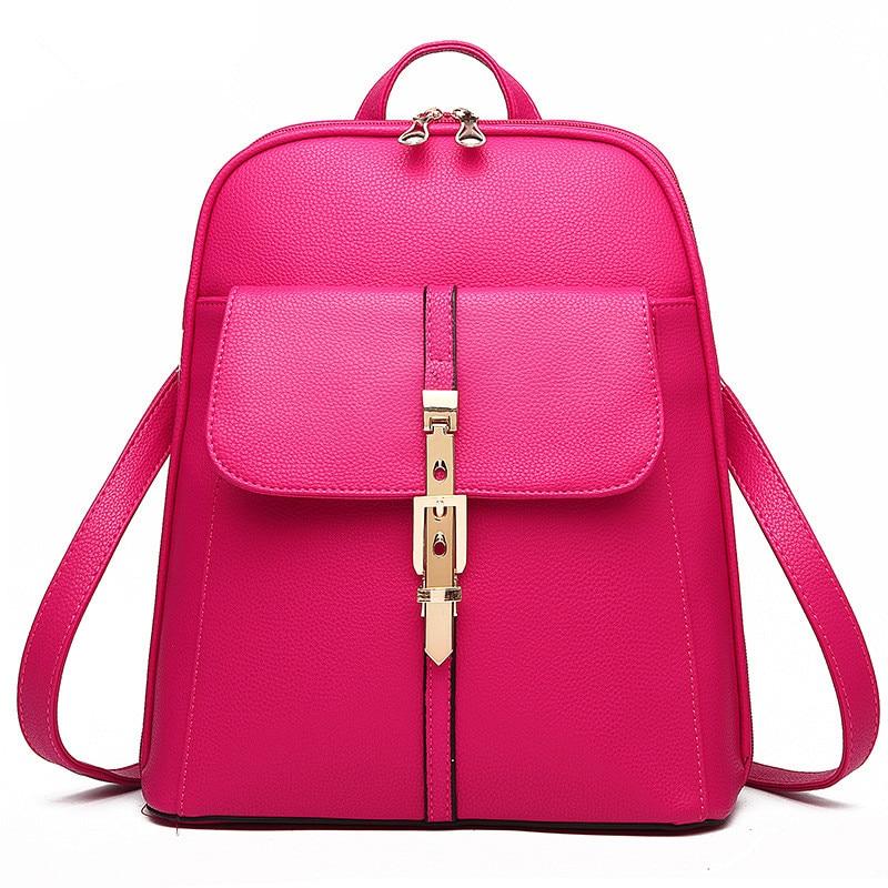 ФОТО High Quality PU Schoolbag Buckle Fuchsia Pratical Traveling Women Backpacks Bag Zipper