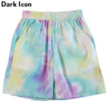 Dark Icon Tie Dyeing Shorts Men Summer Beach Elastic Waist for 4 Colors