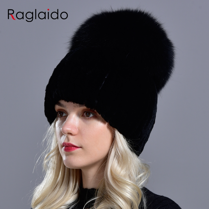 Real Womens Rabbit Fur Hats Fox Fur Pompons Of Fur For Hats Winter Knitted Beanie Caps Genuine Natural Fur Female Hat LQ11264