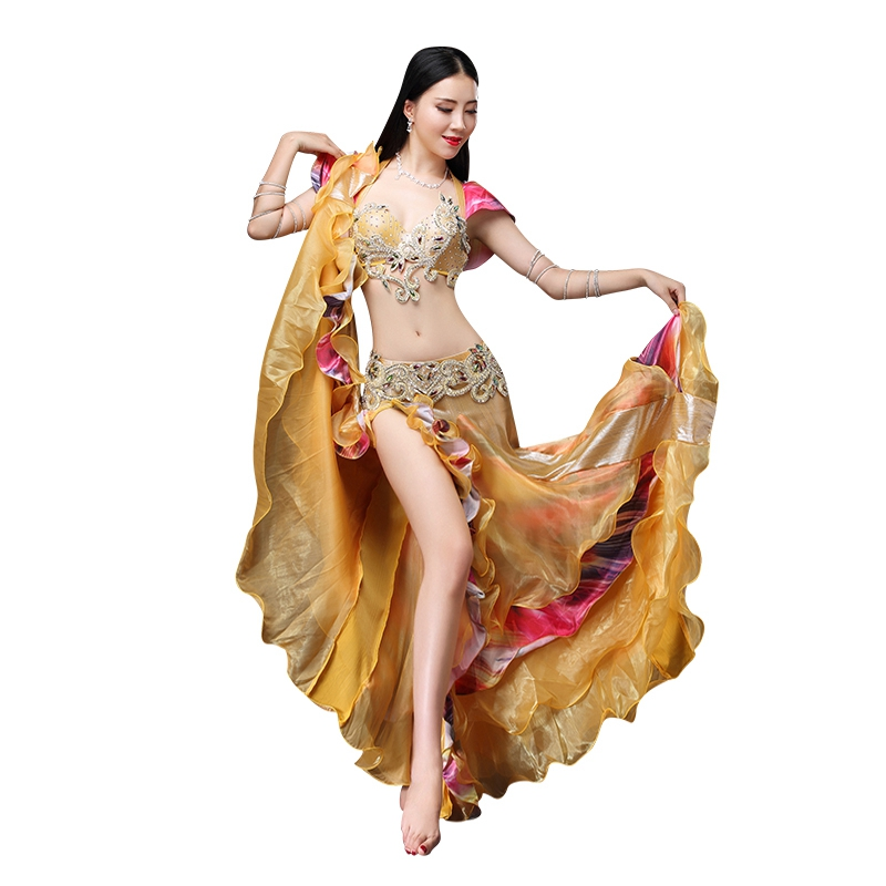 Women Luxury Belly Dancing Costume 3 Piece/Suit Bra Belt Skirt 2018 New Arrival Belly Dance Clothing Oriental Costume set S M L
