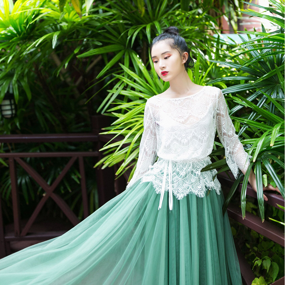 IRINAW619 nieuwe collectie zomer 2018 driekwart mouw vintage witte wimper kant top vrouwen shirt