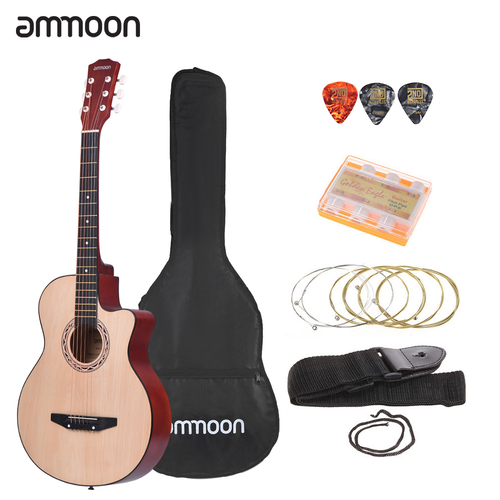 "ammoon 38"" Acoustic Guitar 6-String Cutaway Folk Guitar Guitarra with Bag Strap String Tuner Pick for Beginners"