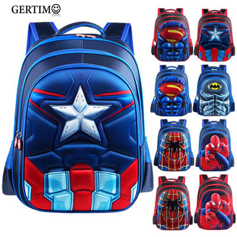 Superman Captain America Children 3D Anime Portfolio Kids Boys/Girls Backpack School Bags Satchel;spiderman Mochila