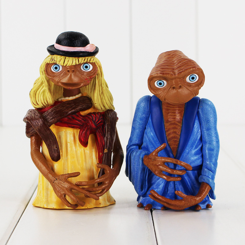 2pcs/set the Extra-Terrestrial ET <font><b>E.T.</b></font> 10-11cm Action Figures Anime PVC brinquedos Collection Figures toys for Birthday gifts