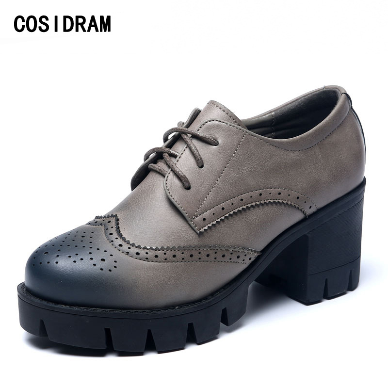 COSIDRAM Brogue Women Shoes Lace-Up PU Leather Women Pumps Platform Thick High Heels Ladies Shoes Spring Autumn Fashion BSN-015