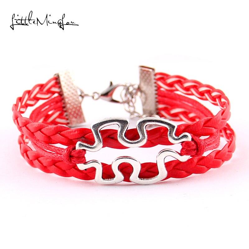 Little Minglou Autism speaks Bracelet Autism Awareness Puzzle Pieces men bracelets & bangles for women jewlery