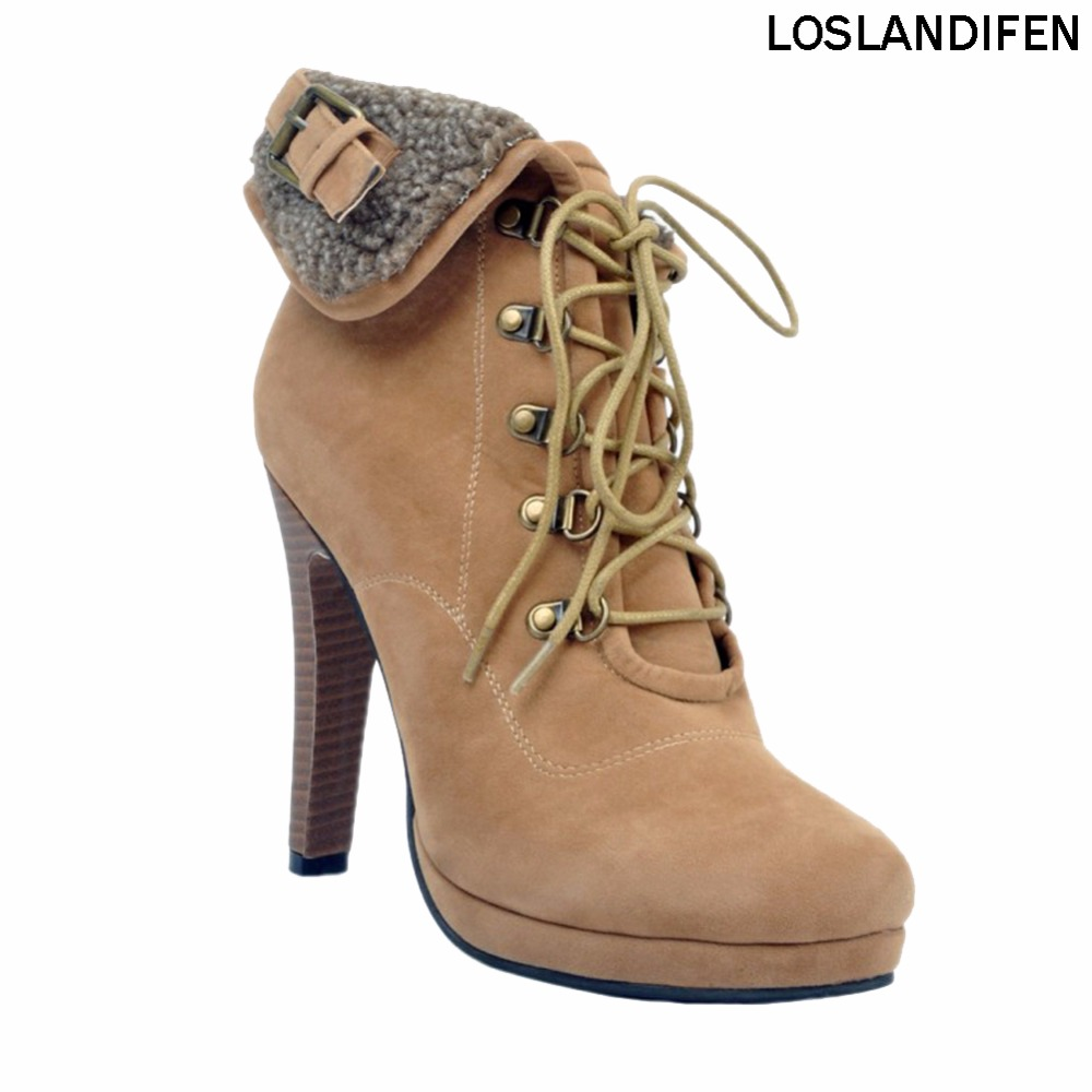 Womens Fashion Handmade 12cm High Heel Large Size Cross Lace-up Winter Boots Party Shoes ...