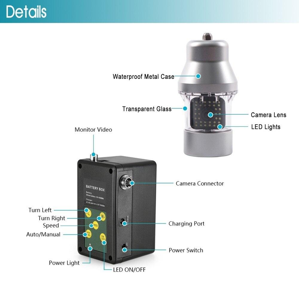 Аккумулятор для SYANSPAN, водонепроницаемый рыболокатор, коробка для видеокамеры, подводная ледовая рыбалка, 36 светодиодов, вращение на 360 градусов