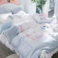 Elegant embroidery Bedding Set Super Soft Egyptian cotton Duvet Cover Flat Sheet Pillowcase Comforter Bed Set Queen King Size