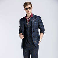 Jacket Trousers Vest Blue Black Suits Wedding Prom Groom Suit Singer Show Nightclub Clothing Pants