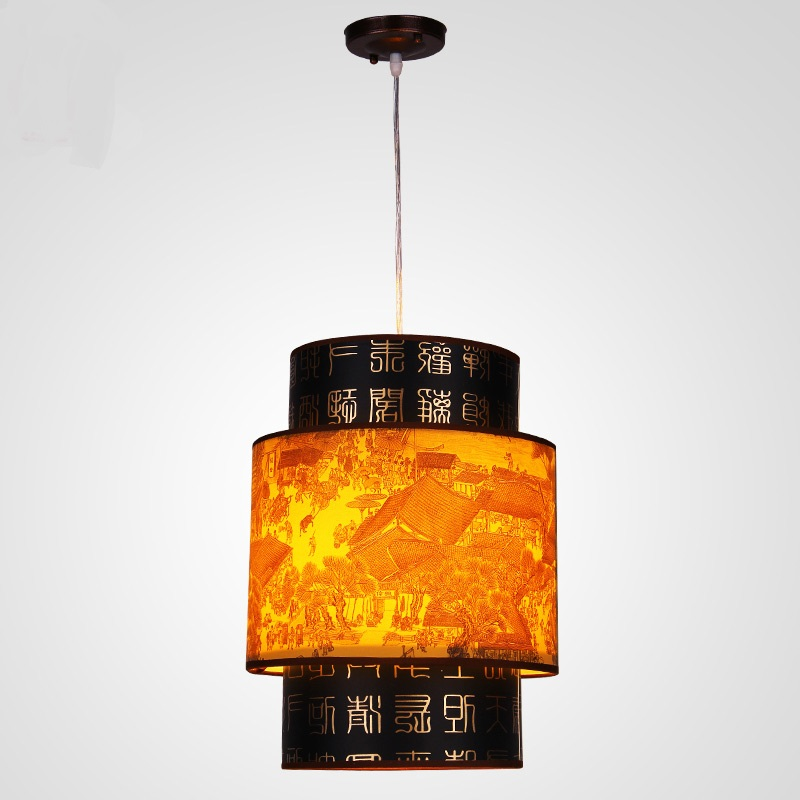 Chinese style Classical restaurant meal Pendant Light hanging imitation sheepskin lighting lamp retro restaurant dining ZS35 chinese style antique wooden sheepskin chandelier lamp three classical teahouse atmosphere restaurant head send bless