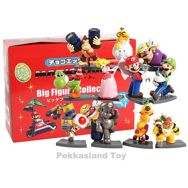 11pcs/set Super Mario Bros Figure Mario Kart 7 Big Figure Collection Koopa Mairo Luigi Princess Yoshi Model Figures Toy