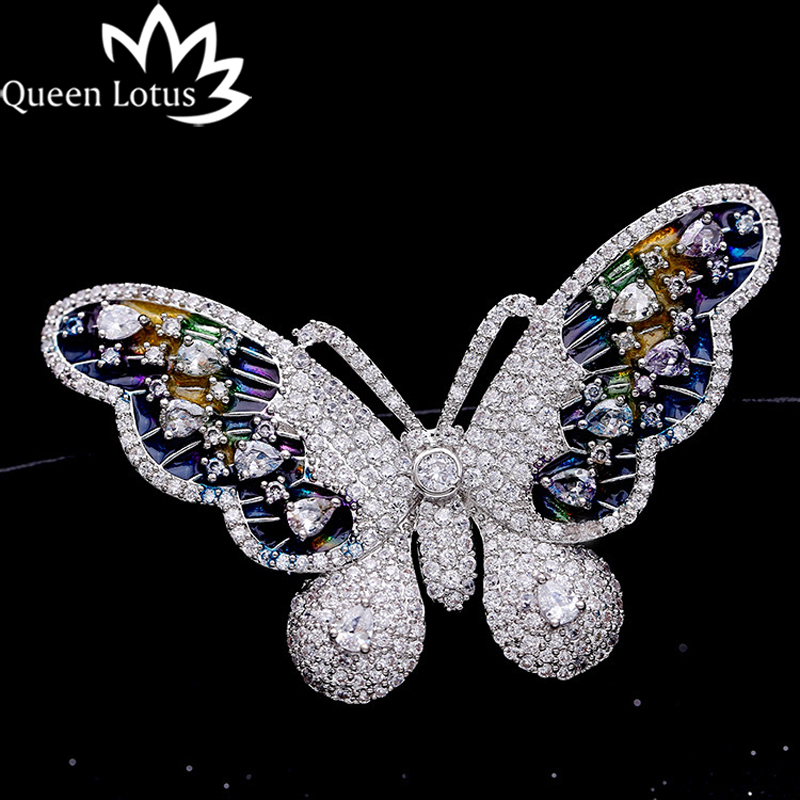 Queen Lotus New Luxury Butterfly Brooches for Women Silver Color Fashion Jewelry Wedding Crystal Brooch and Pins For Gift