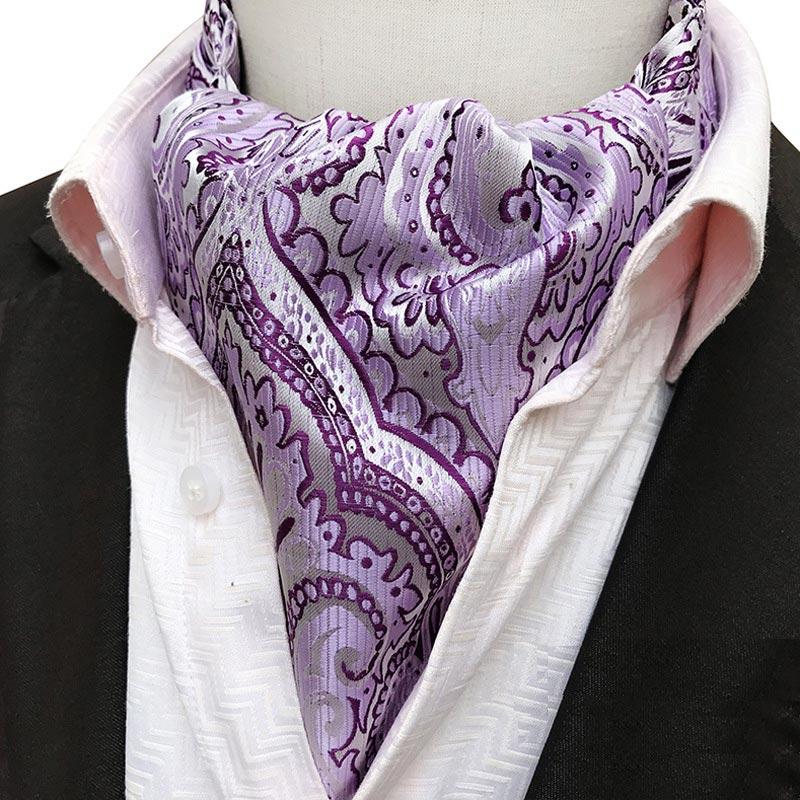 New 100/% Polyester Men/'s Paisley Ascot Cravat Only Wedding Prom Lavender