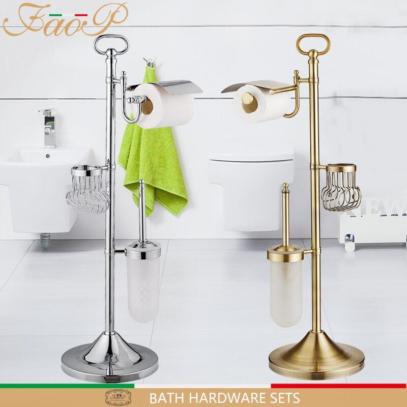 FAOP Titulares Escova de Vaso Sanitário do banheiro Conjuntos De Hardware De Banho de Ouro de bronze Antigo Gancho De Papel em Rolo de Papel Titulares toalha de Banho para trás