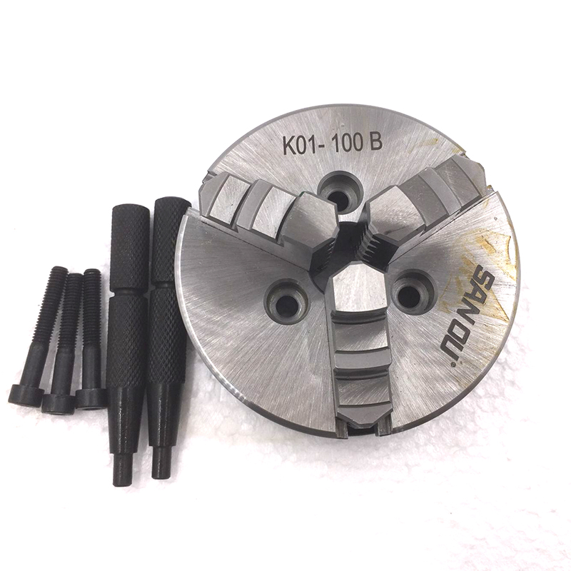 CNC 3 Jaw 100mm LATHE Chuck Self-Centering 4 Mini Manual Chuck K01-100B Hardened Steel for Wood Lathe manual lathe chuck k01 80b k01 100b mini 3 jaws chuck 14 1 self centering clamping hardened steel lathe chuck