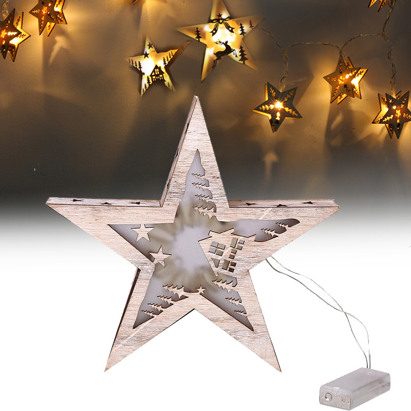 1 PC Vakantie Lichten Houten 28 cm Vijf Star Led Light String Battery Operated Xmas Kerst Wijn Bar Wedding Fairy decoratie