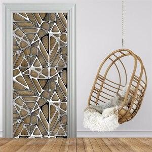 3D наклейка на дверь с геометрическим рисунком, имитирующая металлическую текстуру, для фотографий, для гостиной, учебы, Роскошный домашний ...