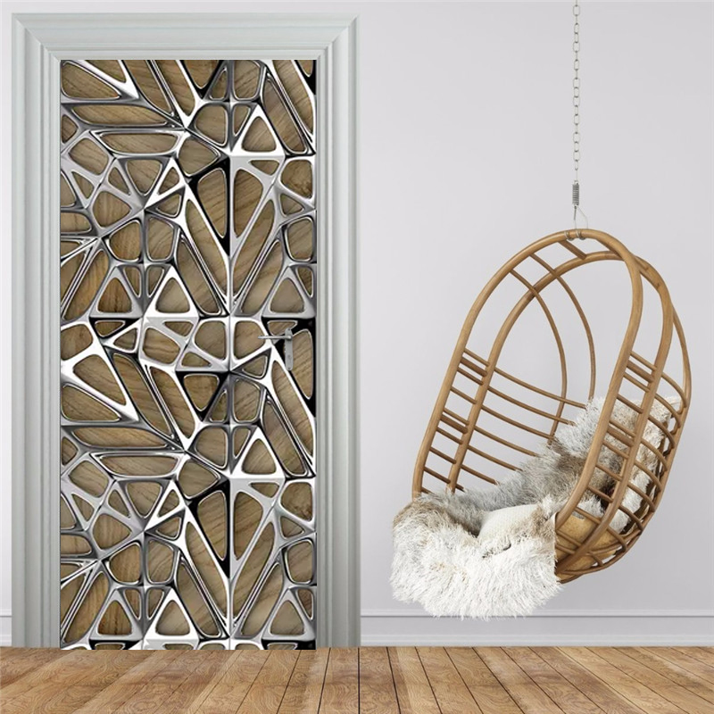 Modern Art Geometry Door Sticker 3D Imitation Metal Texture Photo Wallpaper Living Room Study Luxury Home Decor 3D Wall Stickers