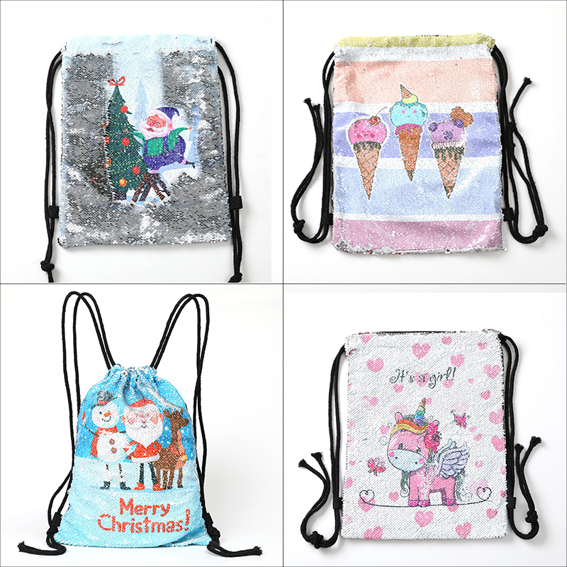 New Cartoon Women Unicorn Backpacks Mermaid Sequins Drawstring Bag Christmas Backpack Children School Beach Travel Shopping Bag #3