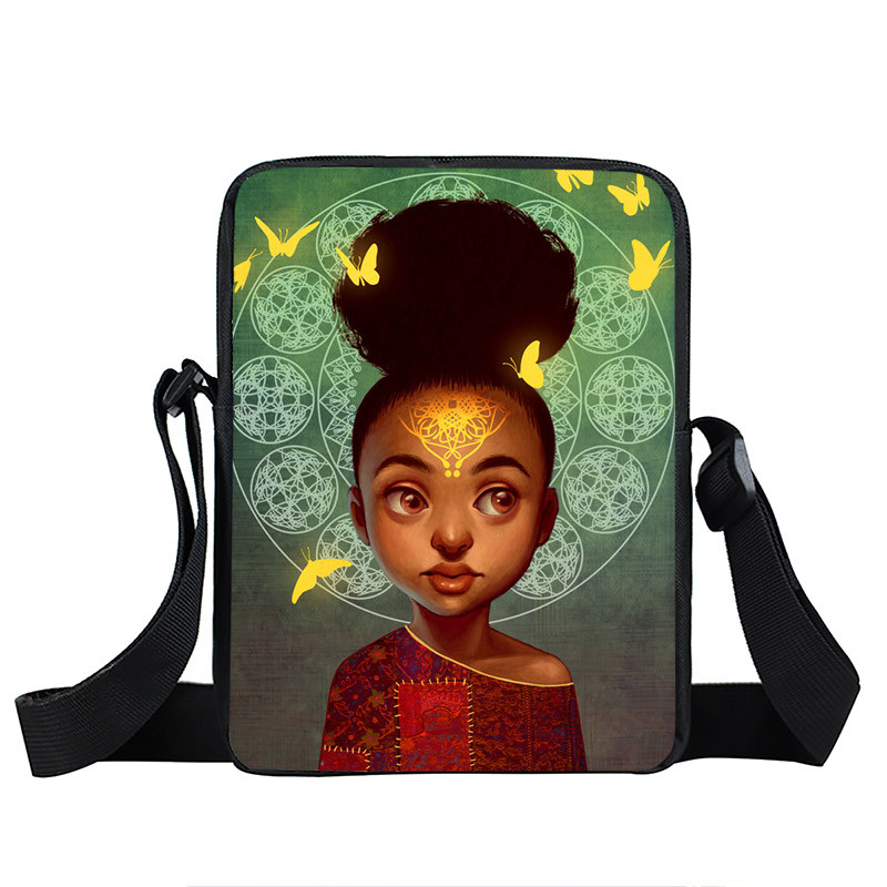Afro Lady Girl messenger bag Africa Beauty Princess small shoulder bag brown women handbag mini totes teenager crossbody bags 15