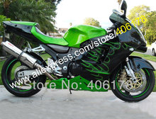 Hot Sales,Free custom Green Flame bike fairing kit FOR Kawasaki ninja ZX-12R 2000 2001 ZX12R 00 01 ZX 12R 00-01 body kit