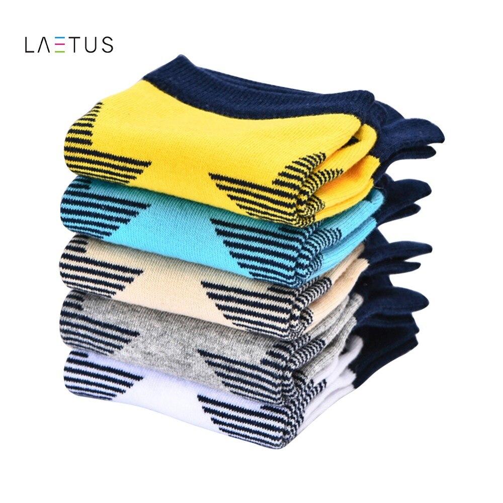 Laetus 5 Pairs/Lot Men Toe Socks Star Printed Business Dress Sox Five Finger Cotton Soft Low Cut Male Short Ankle Casual Socks