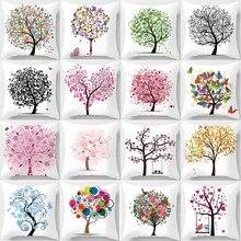 Hot sale creative  trees pattern pillow case men women girls ladies square pillow cases throw pillow cover 45*45cm