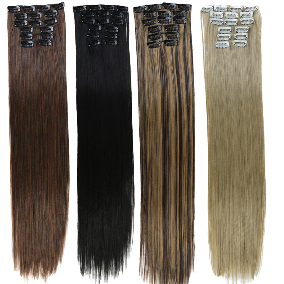 DIFEI Full Head High Temperature Fiber Straight  Synthetic 16 Clips In Hair Extensions For Women Popular Hairpieces Ombre Colors