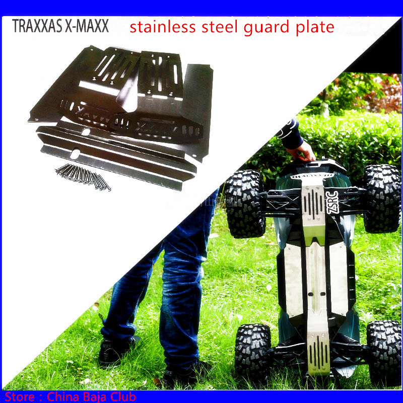 1/5 RC CAR TRAXXAS X-MAXX Upgrade Spare Parts Stainless Steel Guard Chassis Protection Plate Armor Protection Crash 6S & 8S 4pcs tire to 1 5 traxxas x maxx wheels for traxxas x maxx rc monster truck model madmax high quality tyres upgrade rim