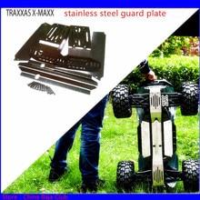 1/5 rcカートラクサスX MAXXアップグレードスペアパーツステンレス鋼ガードシャーシ保護板鎧保護クラッシュ6 s & 8 s
