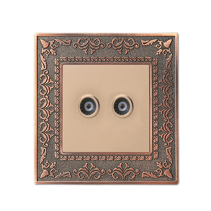 Coswall 4D Embossed Retro Zinc Alloy Panel Luxury Wall Double TV Socket AC 110~250V