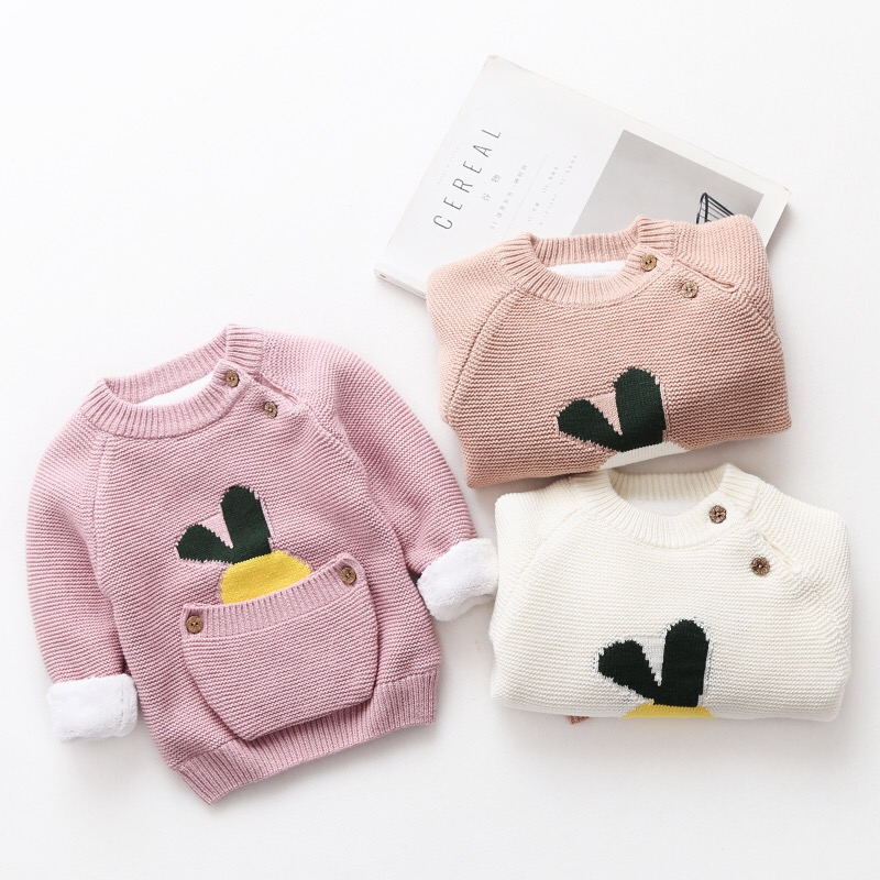 New Cartoon Girls Sweaters Pink kids Sweaters Cashmere Thickening Long Sleeved Tops for Children O-Neck Children's Clothing