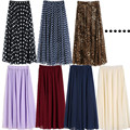 Jupe Longue Femme 2016 New Summer Style Leopard/dots/solid Printed Womens Ladies Chiffon Pleated High Waist Long Maxi Skirt A32