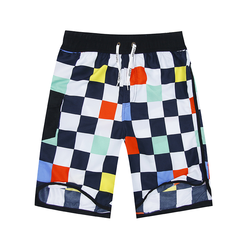 FORERUN Checkered Shorts Men Summer Beach Shorts Casual Bermuda Knee Length Easy Drying Holiday Shorts Homme With Side Pocket