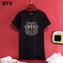 Mulher Camiseta Top Algodão Meninos Bangtan BTS Jimin SUGA Kpop Asas Casual  Streetwear Harajuku Camisa Elástica T Mulheres Plus . f90381add9f99
