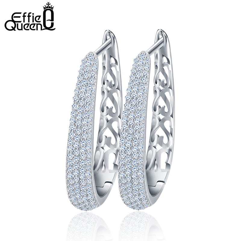 Effie Queen Hollow Ladies Earring Fashion Brilliant 130 Piezas Micro Zircon Pendientes de aro grandes pavimentados para mujer 2018 DE139