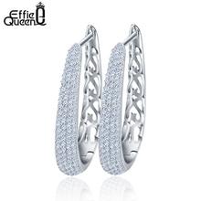 Effie Queen Hollow Ladies Earring Fashion Brilliant 130 Pieces Micro Zircon Paved Big Hoop Earrings for Woman 2018 DE139